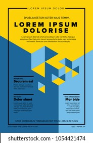 Modern vector art poster template for art exhibition, gallery, concert or dance party - blue and yellow version