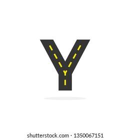 Modern Vector Asphalt Logo Letter Y. Y Road Logistics Letter Design in Vector