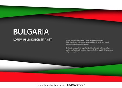 Modern vector background with Bulgarian colors and grey free space for your text, overlayed sheets of paper in the look of the Bulgarian flag, Made in Bulgaria