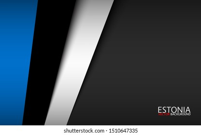 Modern vector background with Estonian colors and grey free space for your text, overlayed sheets of paper in the look of the Estonian flag, Made in Estonia