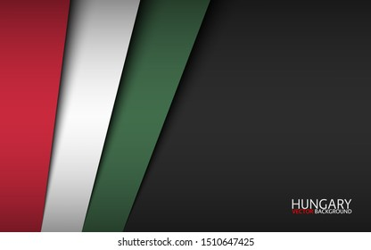 Modern vector background with Hungarian colors and grey free space for your text, overlayed sheets of paper in the look of the Hungarian flag, Made in Hungary