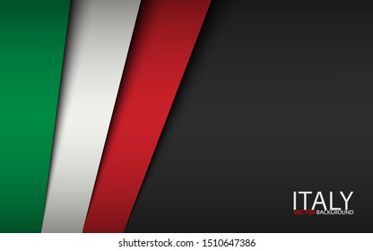 Modern vector background with Italian colors and grey free space for your text, overlayed sheets of paper in the look of the Italian flag, Made in Italy