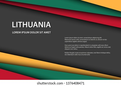 Modern vector background with Lithuanian colors and grey free space for your text, overlayed sheets of paper in the look of the Lithuanian flag, Made in Lithuania
