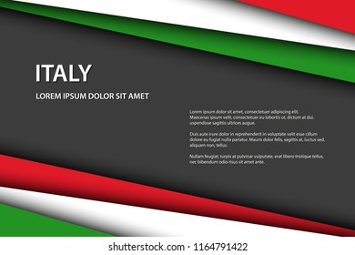 Modern vector background, overlayed sheets of paper in the look of the Italian flag, Made in Italy, Italian colors and grey free space for your text