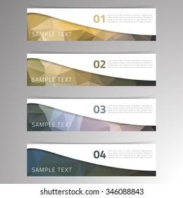 Modern vector banner low polygon background set