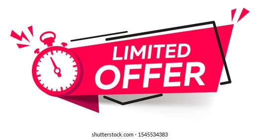 Modern vector banner ribbon limited offer with stop watch