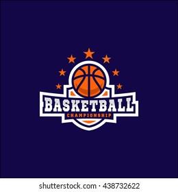 Modern vector basketball championship shield logo emblem