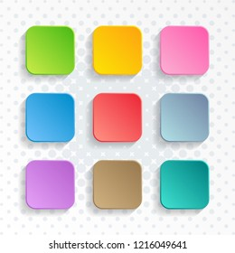 Modern vector blank colorful rounded square website buttons