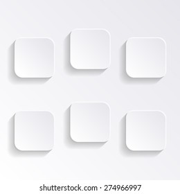 Modern vector blank white square buttons with shadows