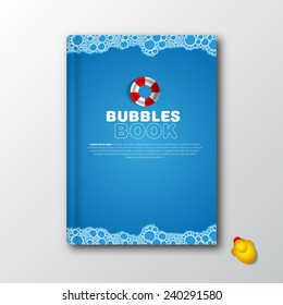 Modern Vector book cover template for kids, bath, memories, childhood story