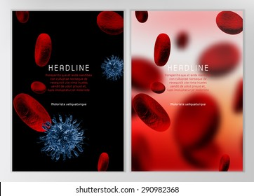 Modern vector brochure, report or flyer design template. Medical industry, biotechnology and biochemistry concept. A4 scientific medical designs.  Letter Cover Templates Collection.