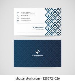 Modern vector business card template, two side black and navy blue vector illustration.