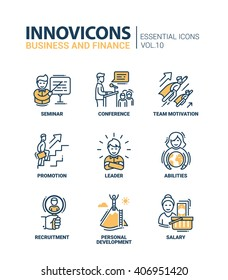 Modern vector business and finance icons collection.  Seminar, conference, team motivation promotion, leader, abilities, recruitment, personal development, salary