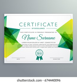 modern vector certificate template with green abstract shapes