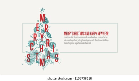 Modern vector christmas card template with christmas tree made from various christmas elements - light version with frame