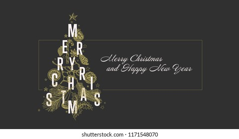Modern vector christmas card template with christmas tree made from various christmas elements - dark golden version