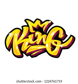 Modern Vector design of lettering the color of gold with shine. Rich style graffiti inscription King with crown for print of t shirt poster banner clothes accessories. Isolated 2d game icon for winner