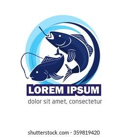 Modern vector fishing logo. Logo for fisherman. fish on a fishing hook illustration. fish on the rod illustration.