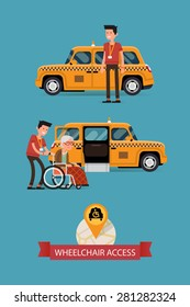 Modern vector flat design on wheelchair accessible city public transport with taxi, driver and disabled person | Cab driver assisting disabled senior woman to get into vehicle with wheelchair access