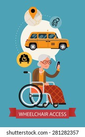 Modern vector flat design on senior woman using mobile device taxi service with wheelchair access application | Elderly female person using city public transport service mobile application