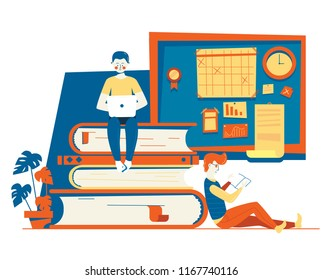 Modern vector flat hipster illustration education concept. Training courses, specialization, university studies. School classes illustration