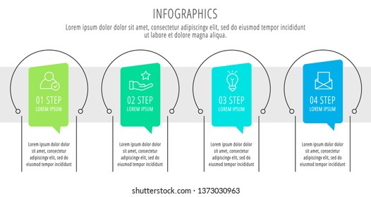 Modern vector flat illustration. Infographic circles template with four elements, shapes, icons. Timeline designed for business, presentations, web design, interface, education, diagrams with 4 steps