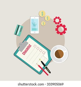 Modern vector flat ilustration. Smart phone, credit card, clip board with check list, pen, pencil, coffee cup, currency coins, money. View from above, top view. Mobile banking, mobile payment concept.