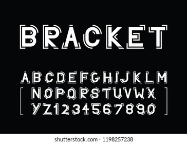 modern vector font and the alphabet with brackets