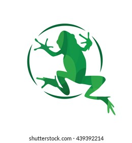 Modern vector frog logotype. Frog vector illustration.  The symbol of the frog.