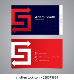 Modern vector graphic business card with alphabet symbol / letter S