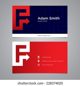 Modern vector graphic business card with alphabet symbol / letter F