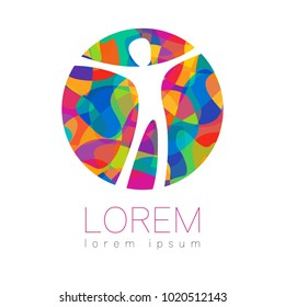 Modern vector Human silhouette in circle logotype isolated on white background. Rainbow bright colors. Man happy inside. Health symbol. Concept design for web, clinic, school, education. Creative.