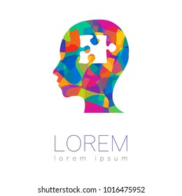 Modern vector Human silhouette head with puzzle inside. logotype isolated on white background. Rainbow bright colors. Health symbol. Concept design for web, clinic, school, education. Creative.