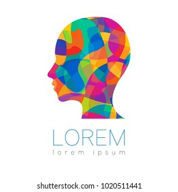 Modern vector Human silhouette head inside. logotype isolated on white background. Rainbow bright colors. Health symbol. Concept design for web, clinic, school, education. Creative.