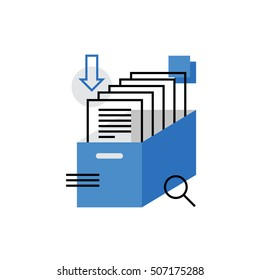 Modern vector icon of business documents, archive papers drawer, catalog search. Premium quality vector illustration concept. Flat line icon symbol. Flat design image isolated on white background.