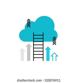 Modern vector icon of career ladder progress and corporate advancement process. Premium quality vector illustration concept. Flat line icon symbol. Flat design image isolated on white background.