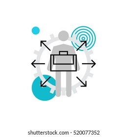 Modern vector icon of career ways, professional progress, job promotion capabilities. Premium quality vector illustration concept. Flat line icon symbol. Flat design image isolated on white background
