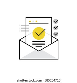Modern vector icon of confirmation letter, approved document and e-mail checklist. Premium quality vector illustration concept. Flat line icon symbol. Flat design image isolated on white background.