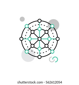 Modern vector icon of global network, internet connectivity and data architecture. Premium quality vector illustration concept. Flat line icon symbol. Flat design image isolated on white background.