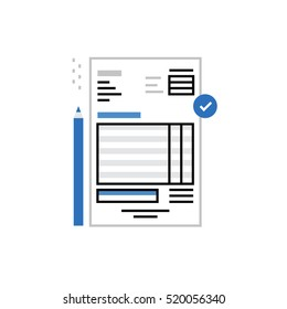 Modern vector icon of invoice papers, expenses calculating and paying bills. Premium quality vector illustration concept. Flat line icon symbol. Flat design image isolated on white background.