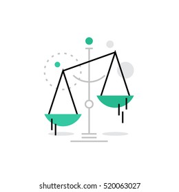 Modern vector icon of law scales balance, financial legislation and juridical system. Premium quality vector illustration concept. Flat line icon symbol. Flat design image isolated on white background