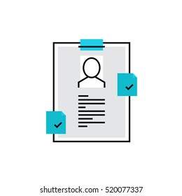 Modern vector icon of personal recruitment information, CV document with biography. Premium quality vector illustration concept. Flat line icon symbol. Flat design image isolated on white background.