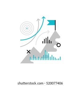 Modern vector icon of reaching business goals and company mission progress. Premium quality vector illustration concept. Flat line icon symbol. Flat design image isolated on white background.