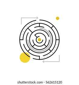 Modern vector icon of solving maze, labyrinth form and solution search process. Premium quality vector illustration concept. Flat line icon symbol. Flat design image isolated on white background.