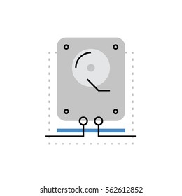 Modern vector icon of system recovery copy, hard disk drive, hdd data storage. Premium quality vector illustration concept. Flat line icon symbol. Flat design image isolated on white background.