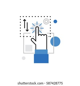 Modern vector icon of touchscreen technology interaction, multi touch control. Premium quality vector illustration concept. Flat line icon symbol. Flat design image isolated on white background.
