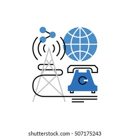 Modern vector icon of varieties of wireless communication, internet connection. Premium quality vector illustration concept. Flat line icon symbol. Flat design image isolated on white background.