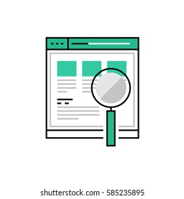 Modern vector icon of web product usability testing and search optimization. Premium quality vector illustration concept. Flat line icon symbol. Flat design image isolated on white background.