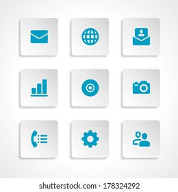 Modern vector icons set bend paper effect. Vector design elements for web and mobile design.