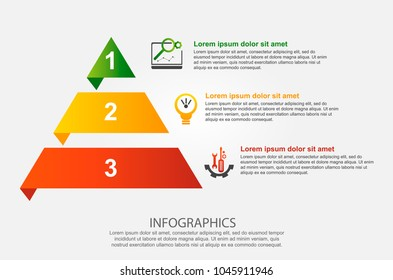 Modern vector illustration 3d. Infographic template of the pyramid with three elements, rectangles. Contains icons and text. Designed for business, presentations, web design, diagrams with 3 steps.
